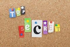 Top Secret Confidential File Folder Concept. Top secret letters on cork bulletin board Stock Images