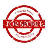 Top secret confidential rubber stamp. Vector grunge seal private and print military stamp illustration Royalty Free Stock Photography