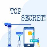 Top secret d'?criture des textes d'?criture Les informations les plus ?lev?es ou endroits de dossiers fortement confidentiels de  illustration de vecteur