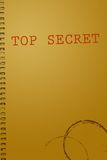 Top secret document cover. With coffee stain Stock Images
