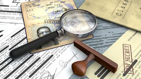 Free Top Secret Document, Declassified, Confidential Information, Secret Text. Passport, Secret Agent. Rubber Stamp And Magnifying Stock Photography - 138778992