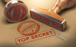 Top Secret Documents, Sensitive Information. 3D illustration of two rubber stamps with the text confidential and top secret stamped on brown paper background Stock Photo