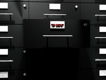 Top secret drawer. Black file drawer with drawer ewith text top secret coming out, 3d render Royalty Free Stock Images