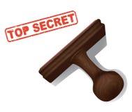 Top secret embouti en encre rouge avec le timbre en caoutchouc de main illustration stock