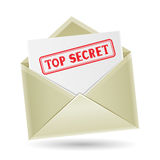 Top secret envelope. The secret correspondence, opened envelope with paper and stamp on the white background Stock Photography