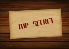 Top secret envelope on wood background. Vector illustration Stock Photography