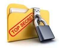 Top secret et serrure de dossier Photo stock