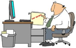 Top Secret File. This illustration depicts a man at a desk holding a top secret file Royalty Free Stock Photos