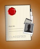 Top Secret File. An image showing a file named top secret and classified with file number written on it. It also shows a red wax seal with the words Top Seacret Royalty Free Stock Image