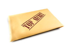 Top secret files. Yellow envelope with top secret files on white background Stock Photo
