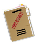 Top secret folder. With files, notes and papers, isolated and grouped objects over white background, no mesh or transparencies used Stock Photo