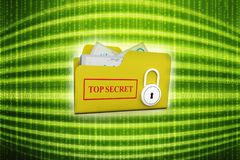 3D yellow folder and lock. Data security concept. Top secret folder and Lock over the white background. 3d render Stock Photos