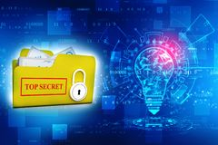 3D yellow folder and lock. Data security concept royalty free stock image