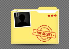 Top secret folder on transparent Royalty Free Stock Photography