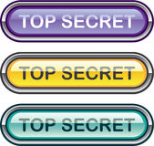Top Secret Glossy Button Stock Images