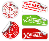 Top secret labels and stickers. Top secret, approved, rejected, top confidental labels and stickers Stock Images