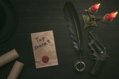 Top secret letter message document. Top secret message document. Forbidden information. Detective agent desk table concept background Stock Images