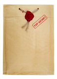 Top secret mail with stamp and wax seal Royalty Free Stock Photo