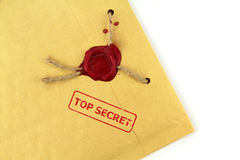 Top secret mail with stamp and wax seal Stock Images