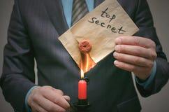 Top secret message concept. Super important information erasing. Destruction of indications. Destruction of evidence. Top secret message concept. A business man Stock Images