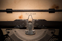 Top Secret message printed on typing machine Royalty Free Stock Image
