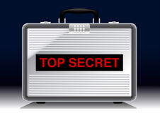 Top Secret metal suitcase under a spotlight Stock Photography