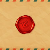 Top secret red wax seal on old envelope Royalty Free Stock Images