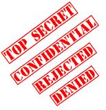 Top Secret & Rejected Stamps. Top Secret, Confidential, Rejected and Denied Stamps Stock Photo