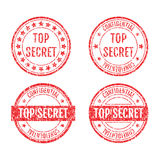 Top Secret Rubber Stamps Grunge Style Set. Top Secret Rubber Stamps Grunge Style With Dust Scratches Set Royalty Free Stock Images