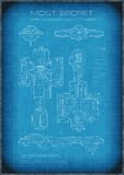 Top Secret Spaceship Blueprint with Text Royalty Free Stock Photography