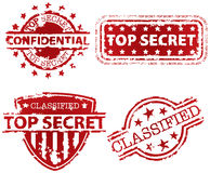 Top Secret Stamp. Top Secret, Classified and Confidential Stamp Set Stock Images