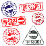 Top Secret Stamps. Rectangular and round top secret rubber stamp s Royalty Free Stock Photo