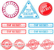 Stamps. Top secret stamps and seals. With different effects used like grunge Stock Photos