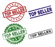 Scratched Textured TOP SELLER Seal Stamps. TOP SELLER seal prints with damaged surface. Black, green,red,blue vector rubber prints of TOP SELLER label with vector illustration