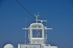 Top of ship with antennas Royalty Free Stock Photo