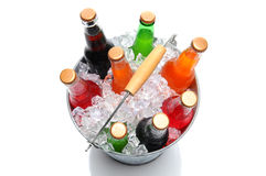Top Shot Of a Bucket of Soda Bottles Royalty Free Stock Photo