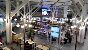 Top shot of food court at YVR airport. In Vancouver BC Canada stock video