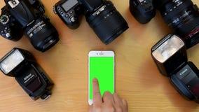 Top shot of green screen iphone stock video