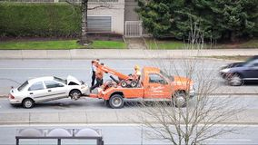 Top shot of the scene of two cars accident happened in afternoon in Coquitlam BC Canada. stock footage