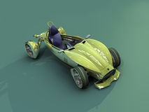 Top side. Render concept car of yellow colour Royalty Free Stock Photos
