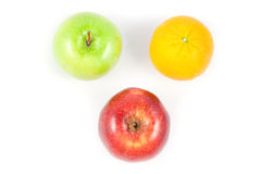 Top side apple and orange. On white background Royalty Free Stock Photos