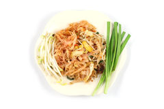 Top side padthai. Thin rice noodles fried with tofu, vegetable, egg and peanuts Stock Photography