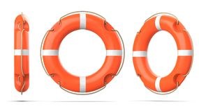 Top, side and perspective view of lifebuoy, isolated on a white background with shadow. 3d rendering set of three orange Royalty Free Stock Photography
