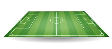 Top and side view of football field. Textured soccer field in pe. Rspective. Green playground background. Vector illustration. web icon Royalty Free Stock Image