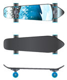 A top and side view of a skating board Royalty Free Stock Photo