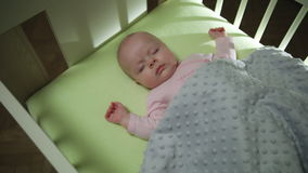 Top Side View of Sleeping newborn baby dolly shot close up stock footage