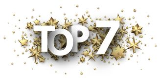 Top 7 sign with gold stars. Rating header. Top 7 sign with gold stars. Rating or hit-parade header. Vector background royalty free illustration