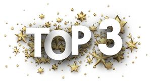 Top 3 sign with gold stars. Rating header. Top 3 sign with gold stars. Rating or hit-parade header. Vector background royalty free illustration