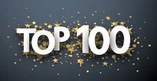 Top 100 sign with gold stars. Rating header. Top 100 sign with gold stars. Rating or hit-parade header. Vector background Vector Illustration