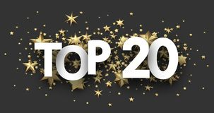 Top 20 sign with gold stars. Rating header. Top 20 sign with gold stars. Rating or hit-parade header. Vector background Royalty Free Illustration